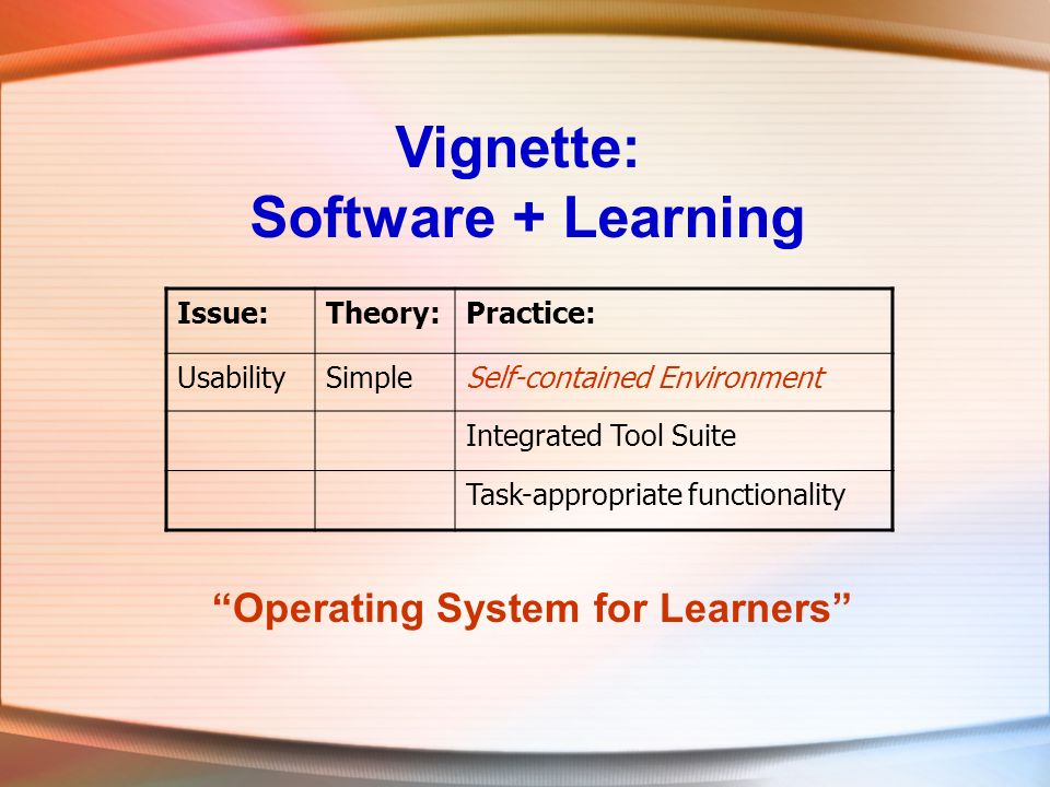 Vignette: Software + Learning Issue:Theory:Practice: UsabilitySimpleSelf-contained Environment Integrated Tool Suite Task-appropriate functionality Operating System for Learners