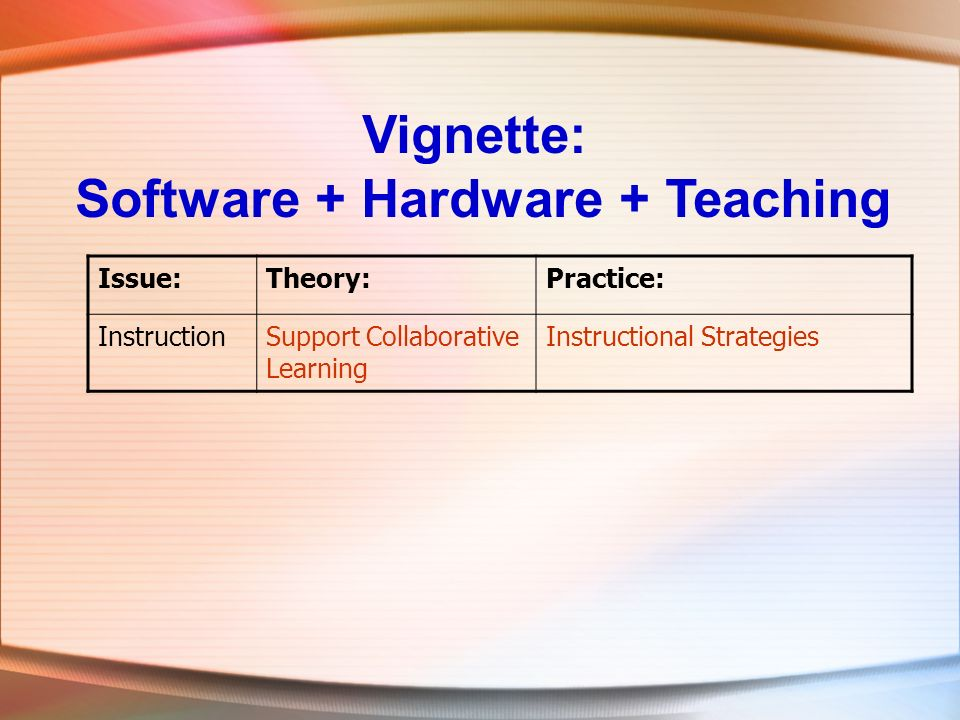 Vignette: Software + Hardware + Teaching Issue:Theory:Practice: InstructionSupport Collaborative Learning Instructional Strategies