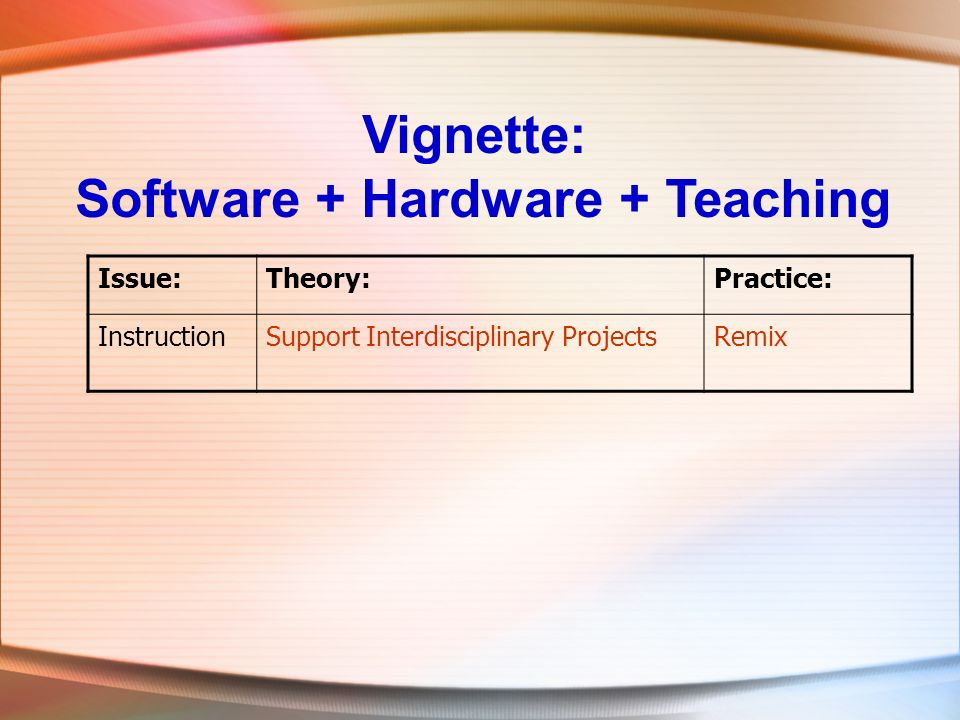 Vignette: Software + Hardware + Teaching Issue:Theory:Practice: InstructionSupport Interdisciplinary ProjectsRemix