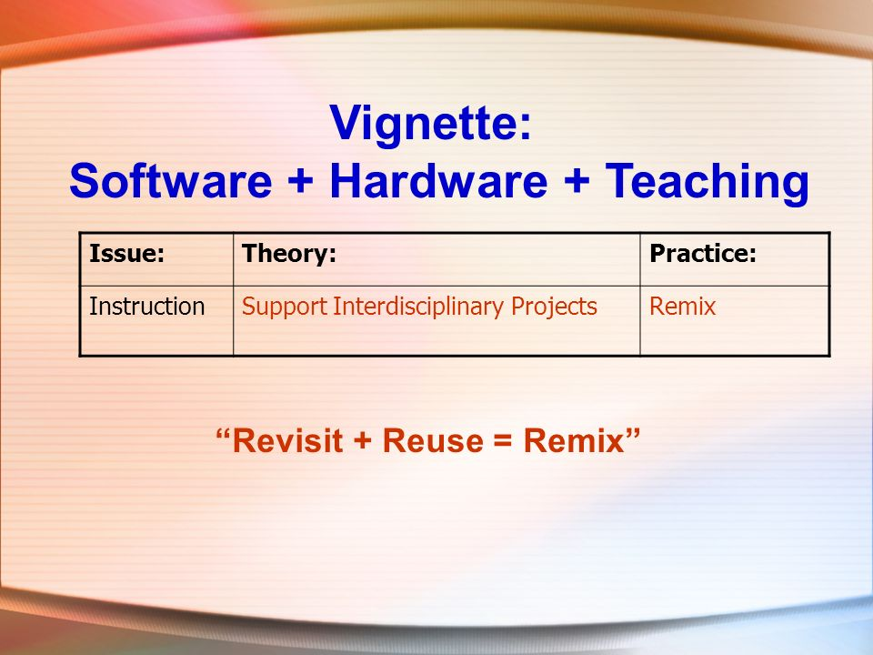 Vignette: Software + Hardware + Teaching Issue:Theory:Practice: InstructionSupport Interdisciplinary ProjectsRemix Revisit + Reuse = Remix