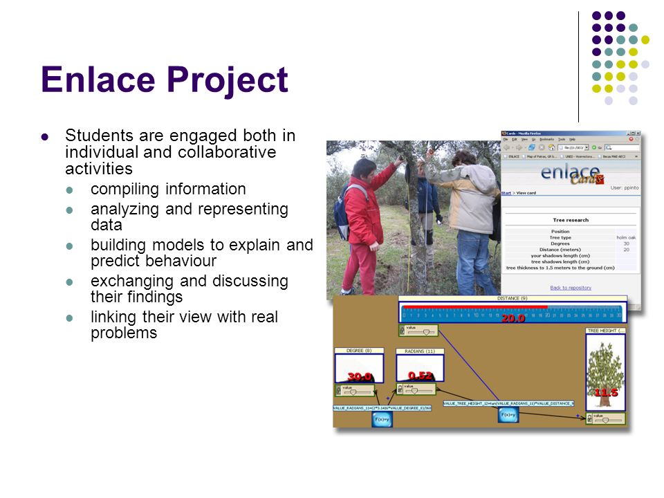 Enlace Project Students are engaged both in individual and collaborative activities compiling information analyzing and representing data building models to explain and predict behaviour exchanging and discussing their findings linking their view with real problems