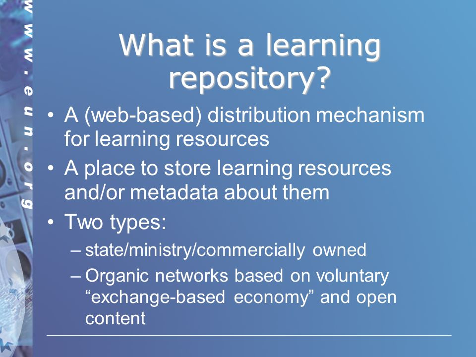 What is a learning repository.
