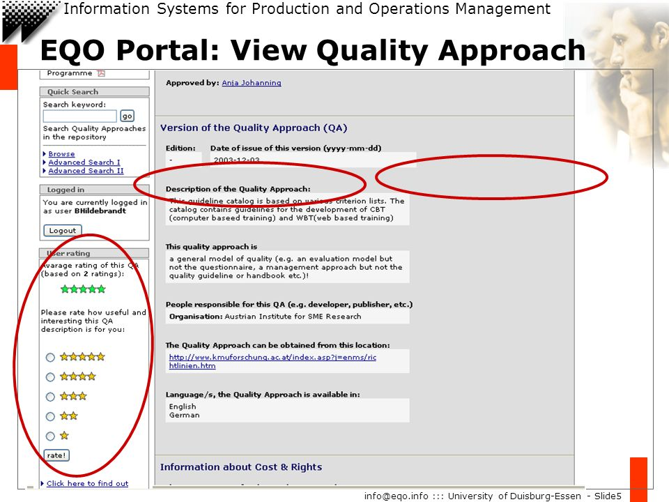 Information Systems for Production and Operations Management info@eqo.info ::: University of Duisburg-Essen - Slide5 EQO Portal: View Quality Approach