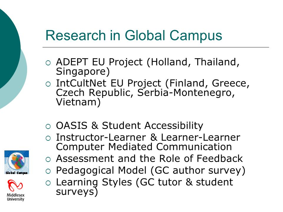 Research in Global Campus ADEPT EU Project (Holland, Thailand, Singapore) IntCultNet EU Project (Finland, Greece, Czech Republic, Serbia-Montenegro, Vietnam) OASIS & Student Accessibility Instructor-Learner & Learner-Learner Computer Mediated Communication Assessment and the Role of Feedback Pedagogical Model (GC author survey) Learning Styles (GC tutor & student surveys)