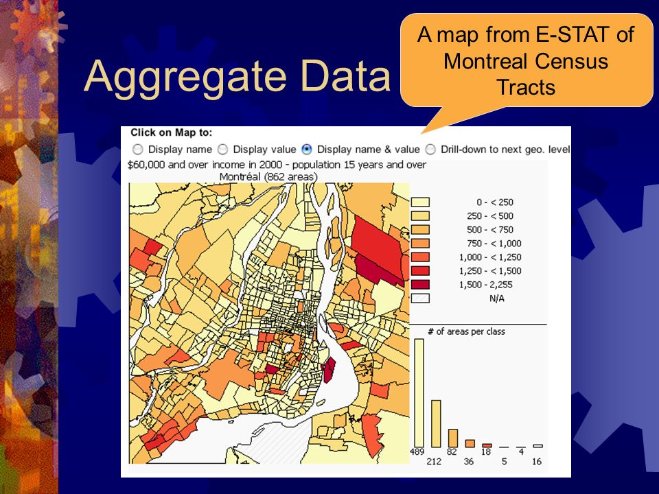 Aggregate Data A map from E-STAT of Montreal Census Tracts