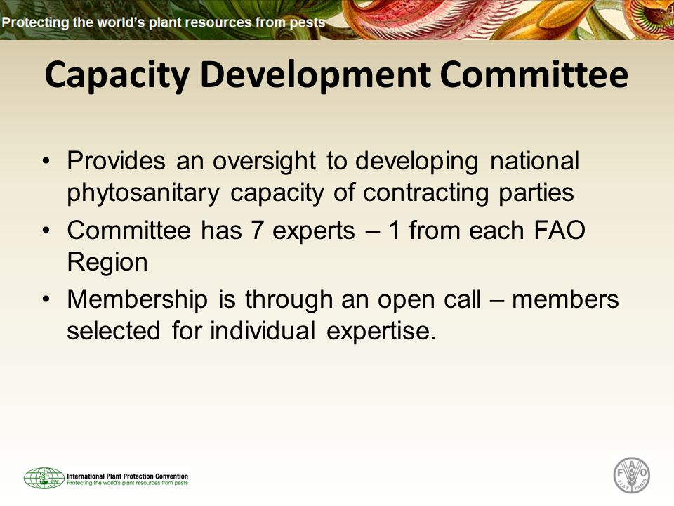 Capacity Development Committee Provides an oversight to developing national phytosanitary capacity of contracting parties Committee has 7 experts – 1 from each FAO Region Membership is through an open call – members selected for individual expertise.