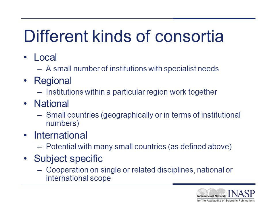Different kinds of consortia Local –A small number of institutions with specialist needs Regional –Institutions within a particular region work together National –Small countries (geographically or in terms of institutional numbers) International –Potential with many small countries (as defined above) Subject specific –Cooperation on single or related disciplines, national or international scope