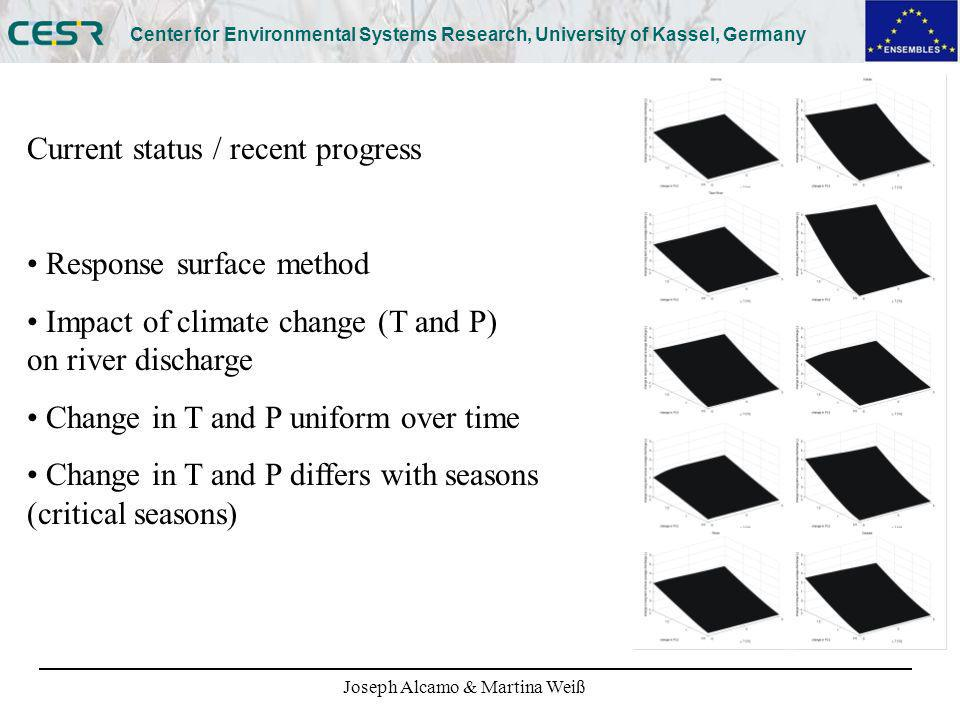 Joseph Alcamo & Martina Weiß Center for Environmental Systems Research, University of Kassel, Germany Current status / recent progress Response surface method Impact of climate change (T and P) on river discharge Change in T and P uniform over time Change in T and P differs with seasons (critical seasons)