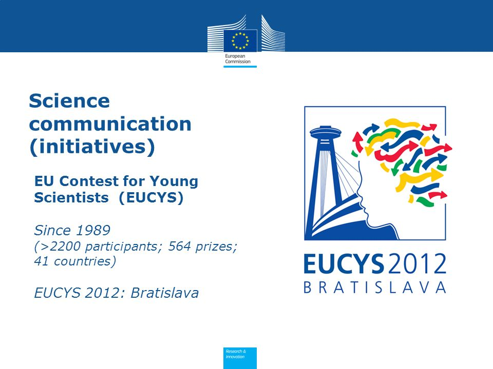Science communication (initiatives) EU Contest for Young Scientists (EUCYS) Since 1989 (>2200 participants; 564 prizes; 41 countries) EUCYS 2012: Bratislava