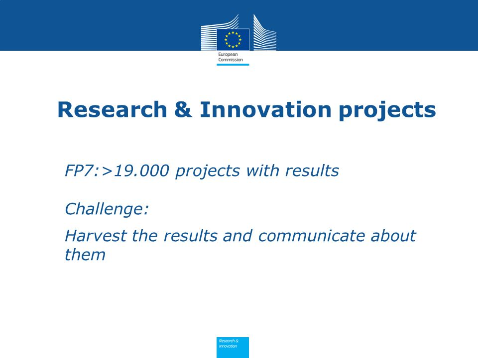 Research & Innovation projects FP7:>19.000 projects with results Challenge: Harvest the results and communicate about them