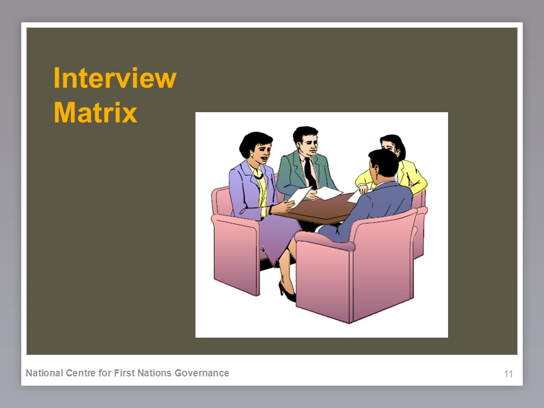 11 National Centre for First Nations Governance Interview Matrix