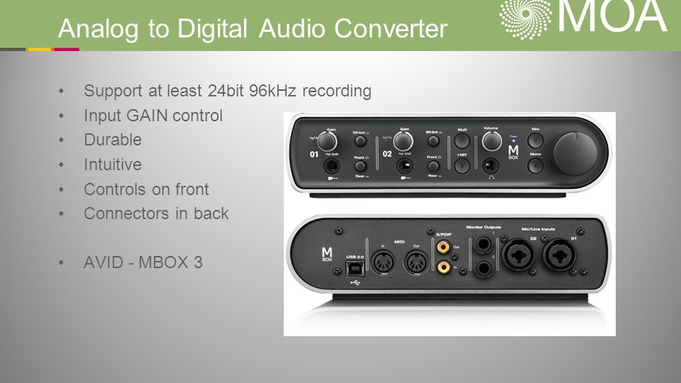 Analog to Digital Audio Converter Support at least 24bit 96kHz recording Input GAIN control Durable Intuitive Controls on front Connectors in back AVID - MBOX 3