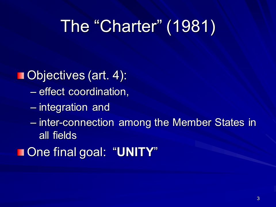 3 The Charter (1981) Objectives (art.
