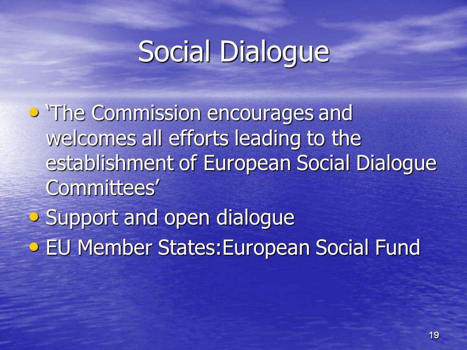 19 Social Dialogue The Commission encourages and welcomes all efforts leading to the establishment of European Social Dialogue Committees The Commission encourages and welcomes all efforts leading to the establishment of European Social Dialogue Committees Support and open dialogue Support and open dialogue EU Member States:European Social Fund EU Member States:European Social Fund