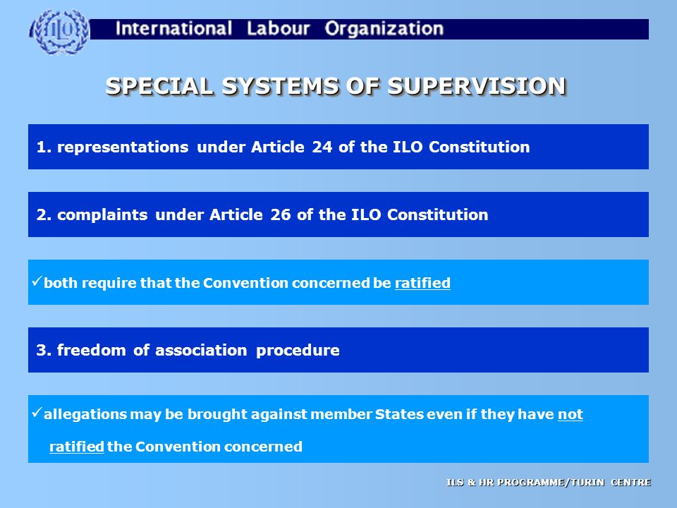 ILS & HR PROGRAMME/TURIN CENTRE SPECIAL SYSTEMS OF SUPERVISION 1.