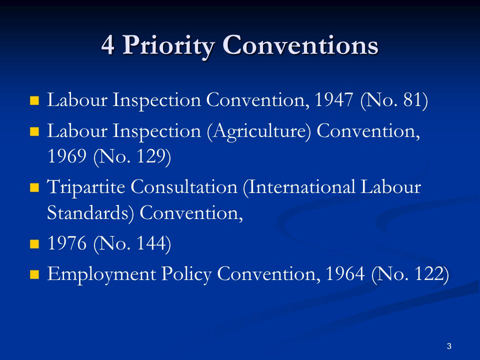 3 4 Priority Conventions Labour Inspection Convention, 1947 (No.