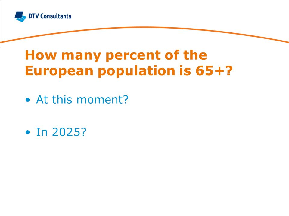 How many percent of the European population is 65+ At this moment In 2025