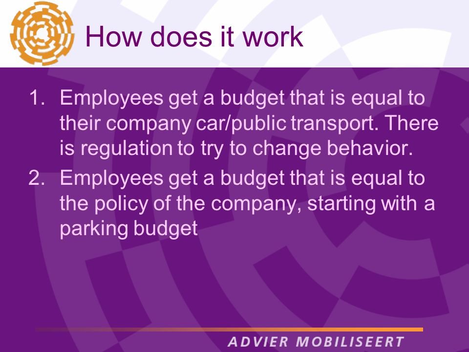 How does it work 1.Employees get a budget that is equal to their company car/public transport.
