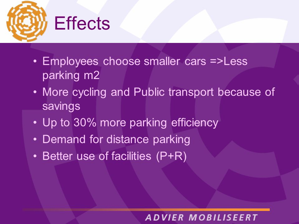 Effects Employees choose smaller cars =>Less parking m2 More cycling and Public transport because of savings Up to 30% more parking efficiency Demand for distance parking Better use of facilities (P+R)