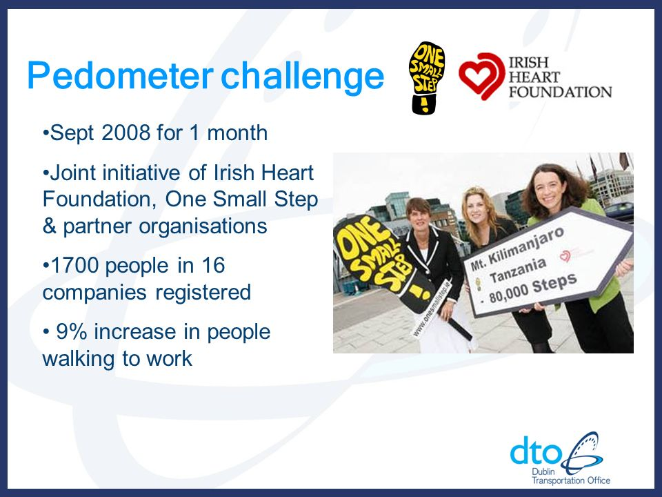 Pedometer challenge Sept 2008 for 1 month Joint initiative of Irish Heart Foundation, One Small Step & partner organisations 1700 people in 16 companies registered 9% increase in people walking to work