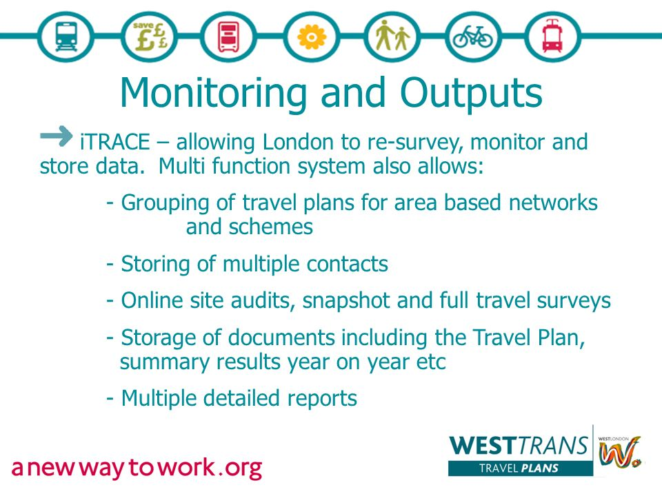 Monitoring and Outputs iTRACE – allowing London to re-survey, monitor and store data.