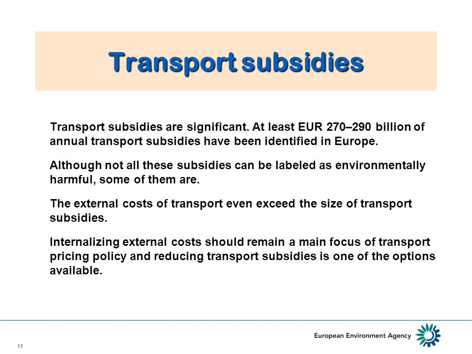 11 Transport subsidies Transport subsidies are significant.