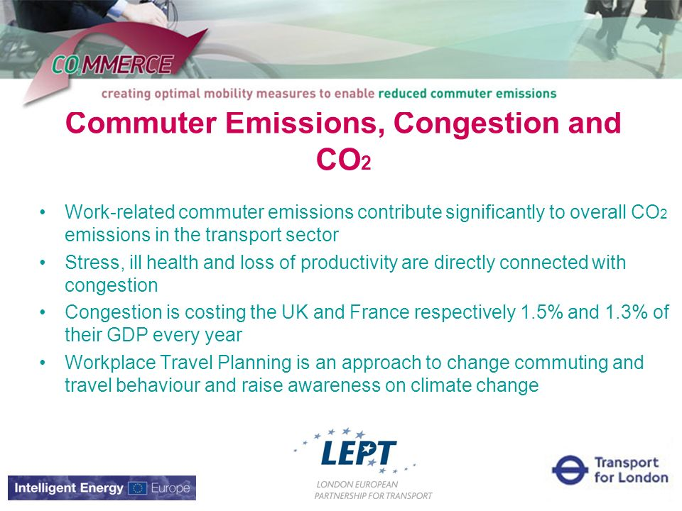 Commuter Emissions, Congestion and CO 2 Work-related commuter emissions contribute significantly to overall CO 2 emissions in the transport sector Stress, ill health and loss of productivity are directly connected with congestion Congestion is costing the UK and France respectively 1.5% and 1.3% of their GDP every year Workplace Travel Planning is an approach to change commuting and travel behaviour and raise awareness on climate change