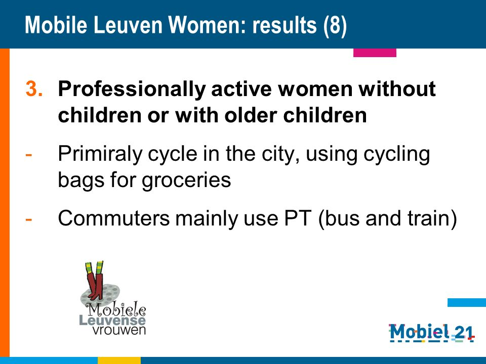 Mobile Leuven Women: results (8) 3.Professionally active women without children or with older children -Primiraly cycle in the city, using cycling bags for groceries -Commuters mainly use PT (bus and train)