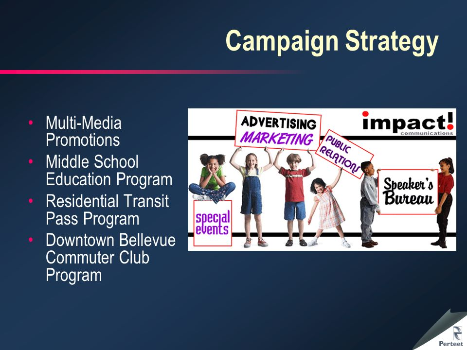 Campaign Strategy Multi-Media Promotions Middle School Education Program Residential Transit Pass Program Downtown Bellevue Commuter Club Program
