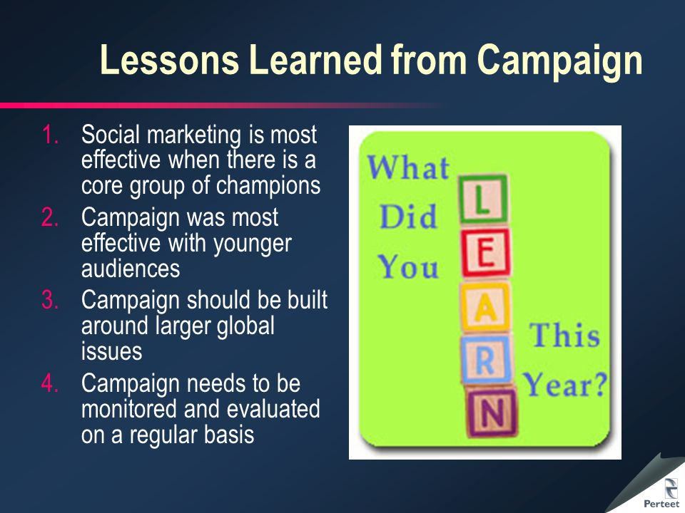 Lessons Learned from Campaign 1.Social marketing is most effective when there is a core group of champions 2.Campaign was most effective with younger audiences 3.Campaign should be built around larger global issues 4.Campaign needs to be monitored and evaluated on a regular basis
