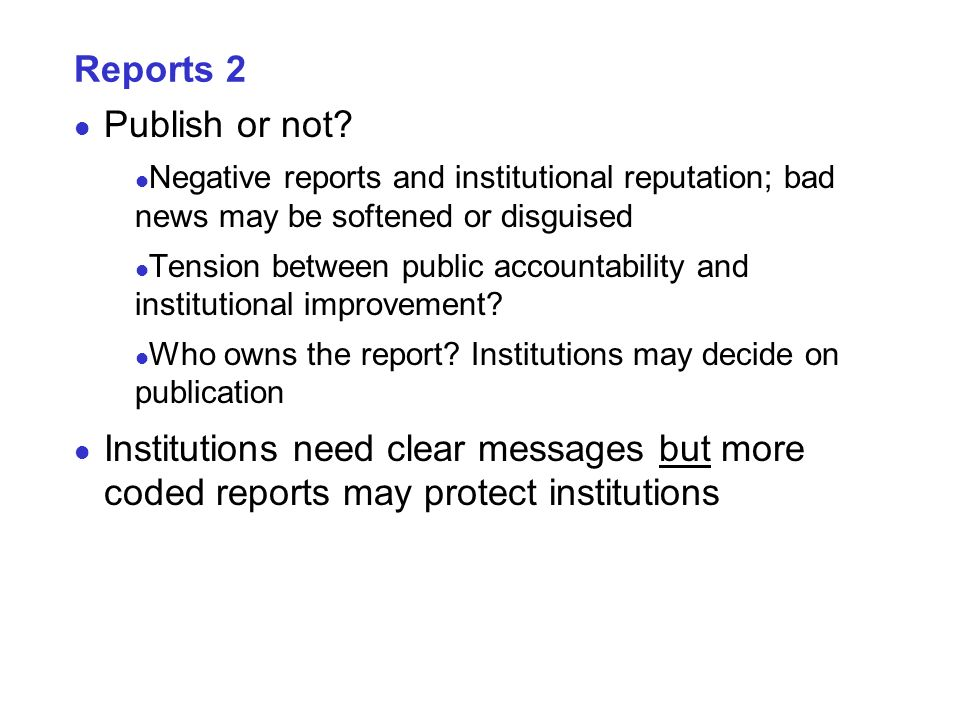 Reports 2 Publish or not.