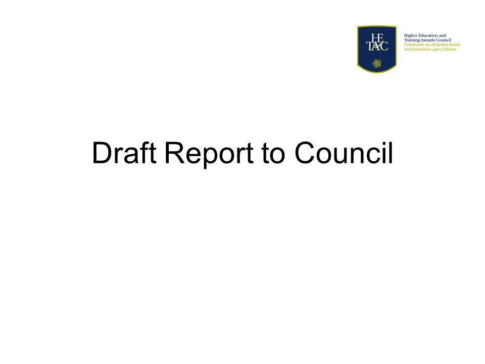 Draft Report to Council