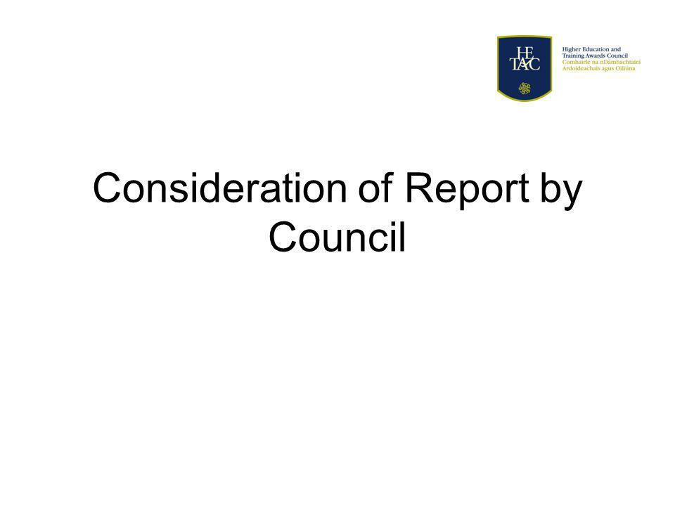 Consideration of Report by Council
