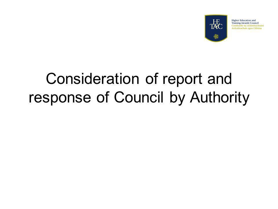 Consideration of report and response of Council by Authority