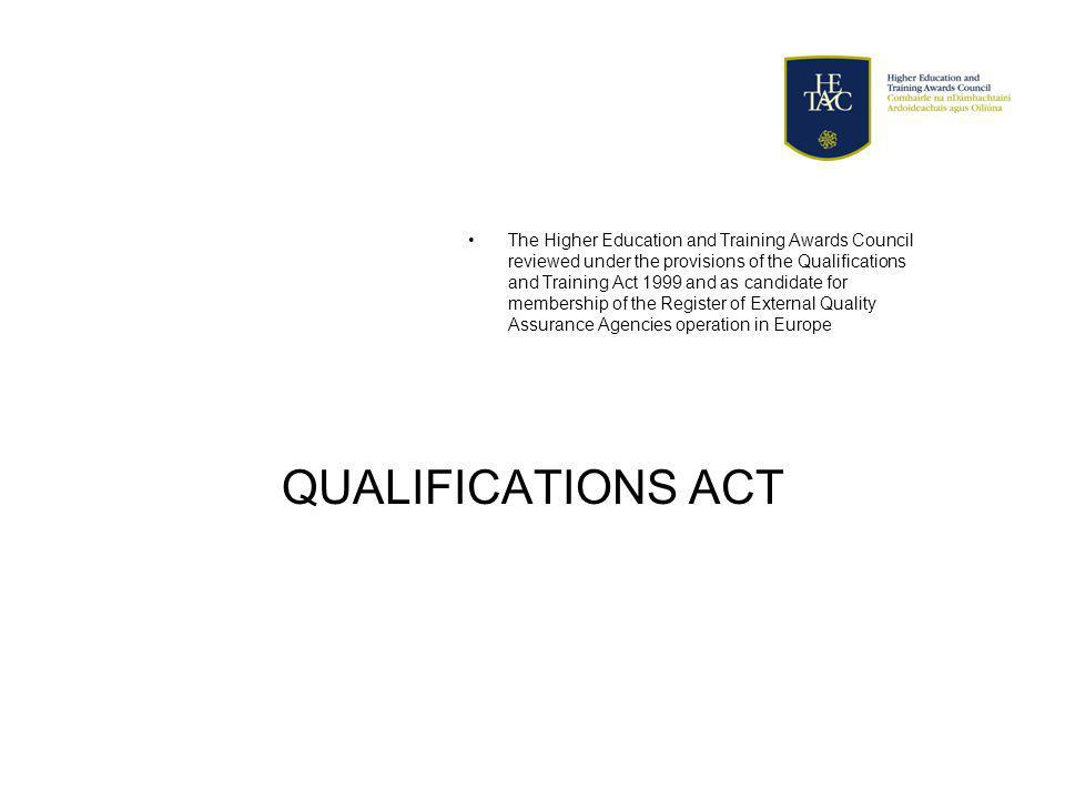 QUALIFICATIONS ACT The Higher Education and Training Awards Council reviewed under the provisions of the Qualifications and Training Act 1999 and as candidate for membership of the Register of External Quality Assurance Agencies operation in Europe