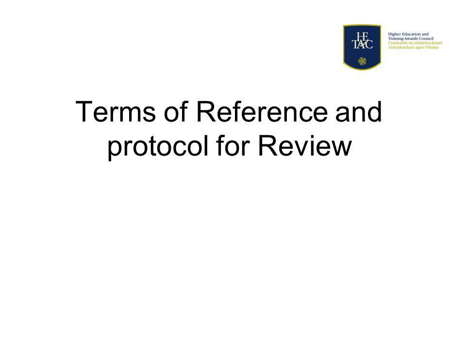 Terms of Reference and protocol for Review