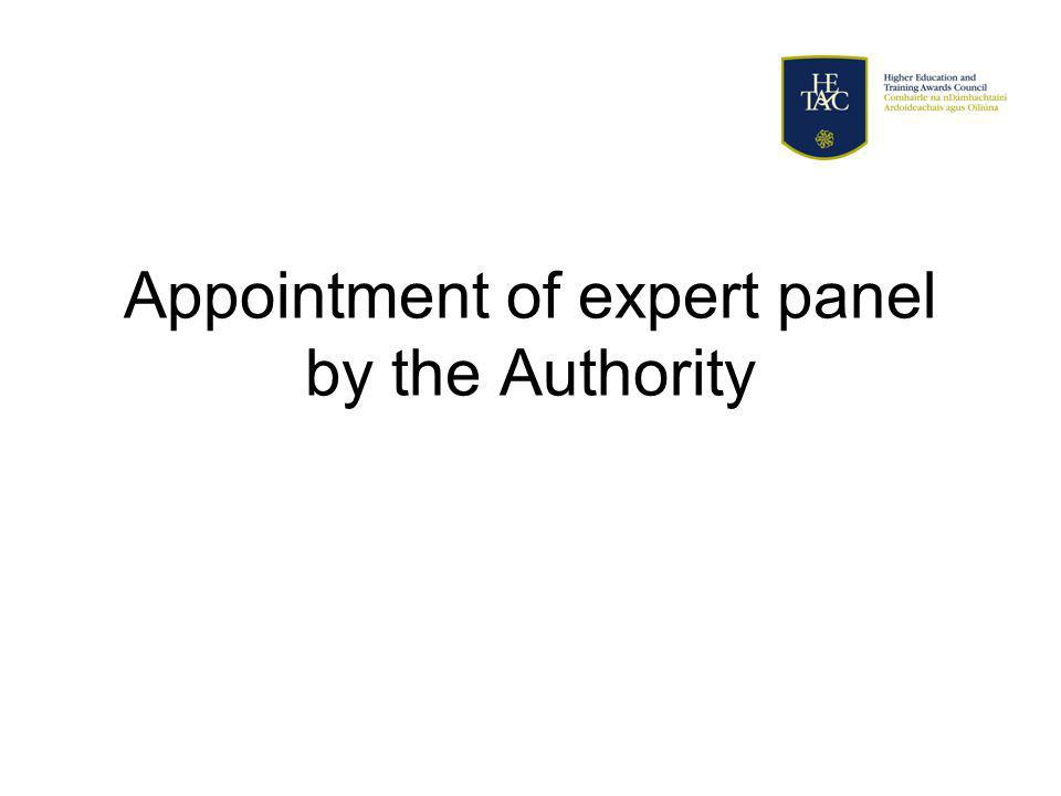 Appointment of expert panel by the Authority