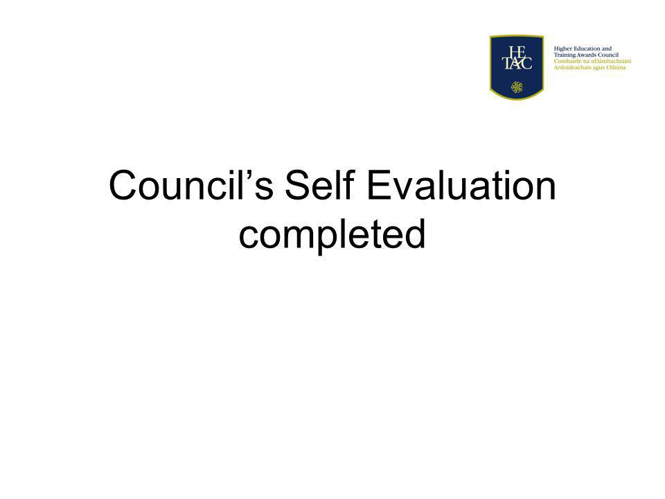 Councils Self Evaluation completed