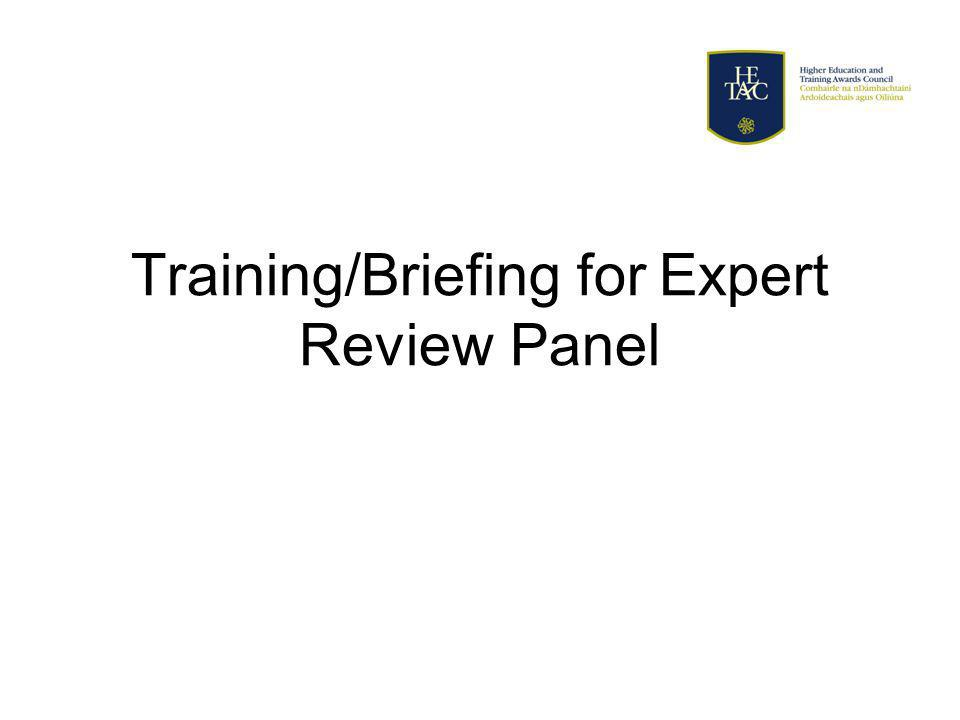 Training/Briefing for Expert Review Panel