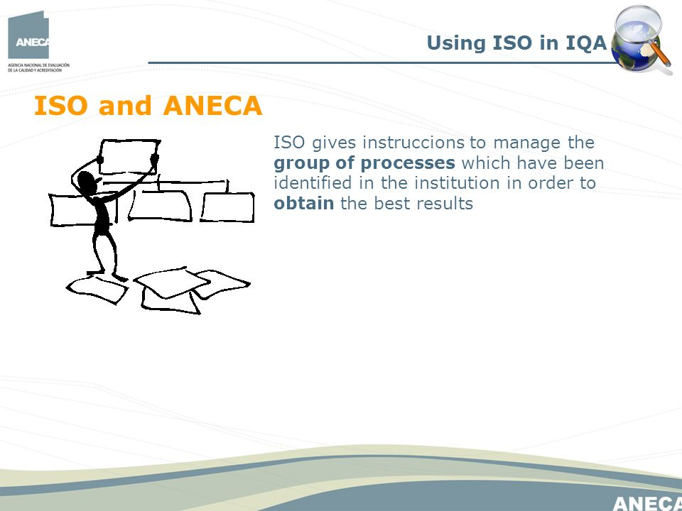Using ISO in IQA ISO and ANECA ISO gives instruccions to manage the group of processes which have been identified in the institution in order to obtain the best results