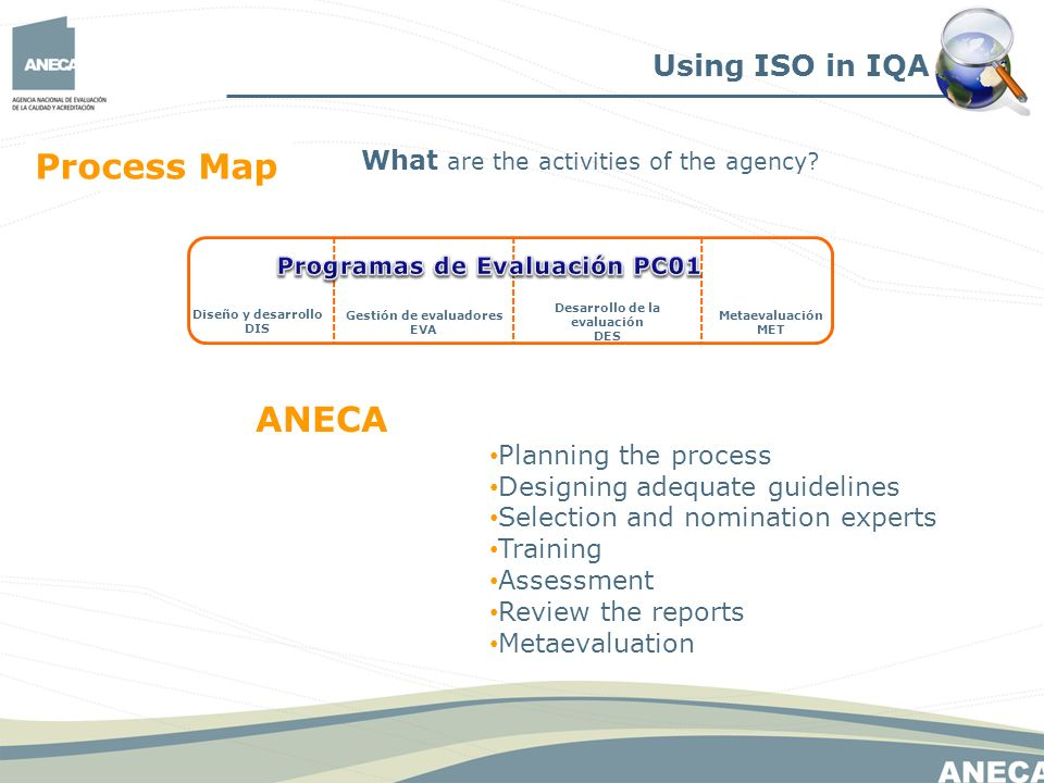 Using ISO in IQA What are the activities of the agency.