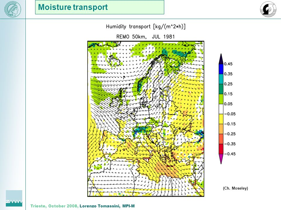 Trieste, October 2008, Lorenzo Tomassini, MPI-M Moisture transport (Ch. Moseley)