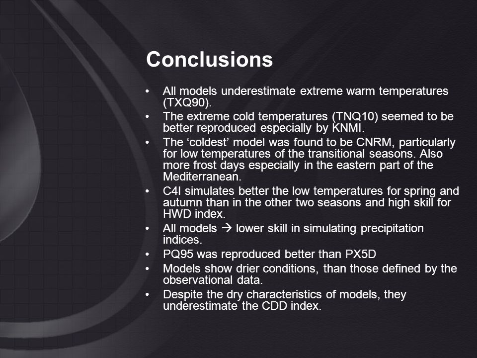 Conclusions All models underestimate extreme warm temperatures (TXQ90).