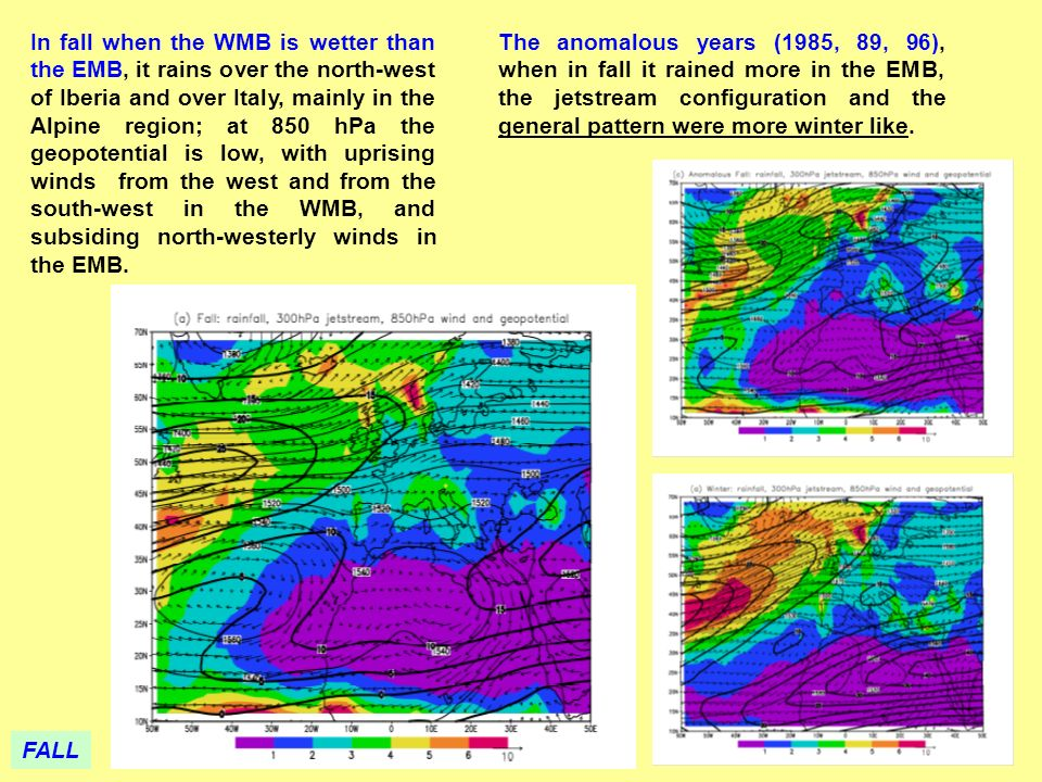 The anomalous years (1985, 89, 96), when in fall it rained more in the EMB, the jetstream configuration and the general pattern were more winter like.