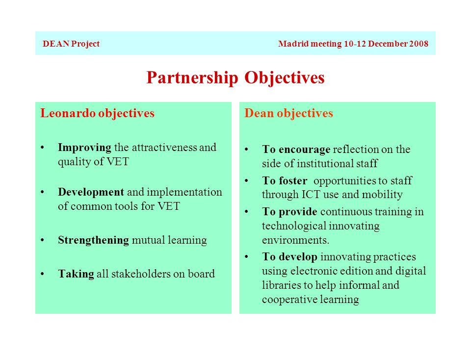 Partnership Objectives Leonardo objectives Improving the attractiveness and quality of VET Development and implementation of common tools for VET Strengthening mutual learning Taking all stakeholders on board Dean objectives To encourage reflection on the side of institutional staff To foster opportunities to staff through ICT use and mobility To provide continuous training in technological innovating environments.