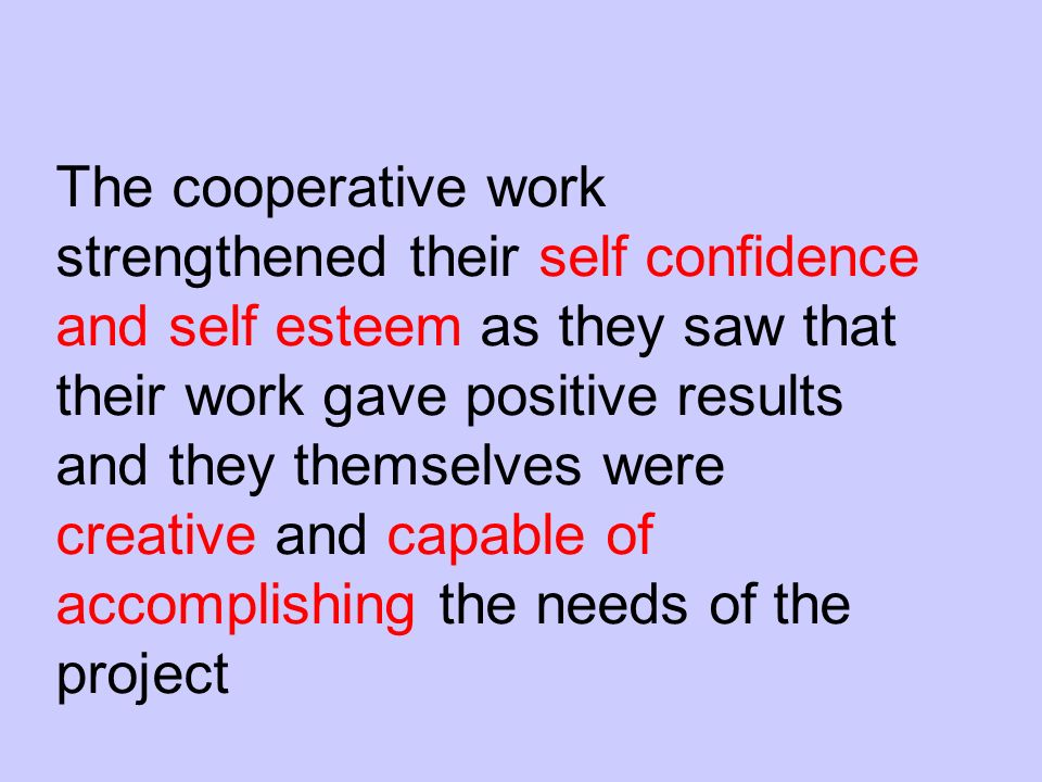 The cooperative work strengthened their self confidence and self esteem as they saw that their work gave positive results and they themselves were creative and capable of accomplishing the needs of the project
