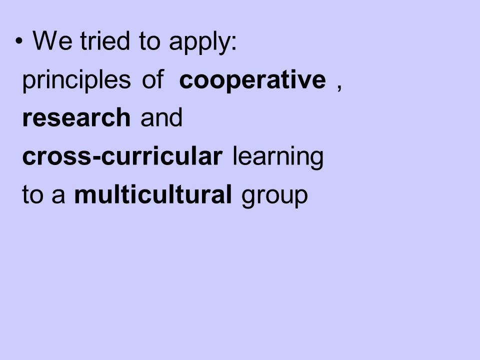 We tried to apply: principles of cooperative, research and cross-curricular learning to a multicultural group