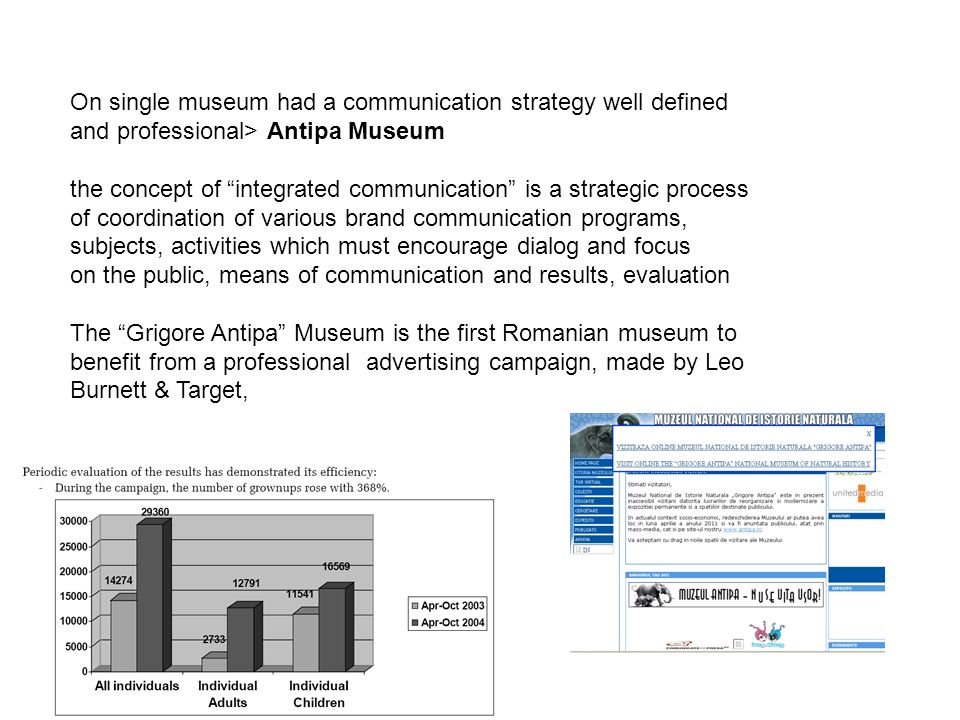 On single museum had a communication strategy well defined and professional> Antipa Museum the concept of integrated communication is a strategic process of coordination of various brand communication programs, subjects, activities which must encourage dialog and focus on the public, means of communication and results, evaluation The Grigore Antipa Museum is the first Romanian museum to benefit from a professional advertising campaign, made by Leo Burnett & Target,