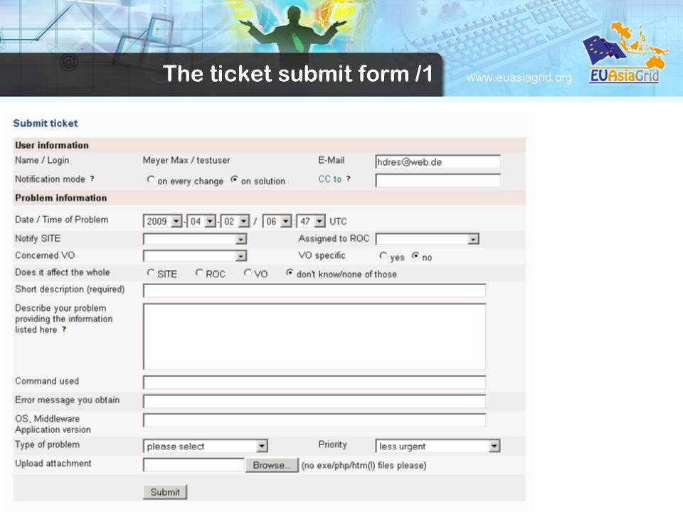 The ticket submit form /1