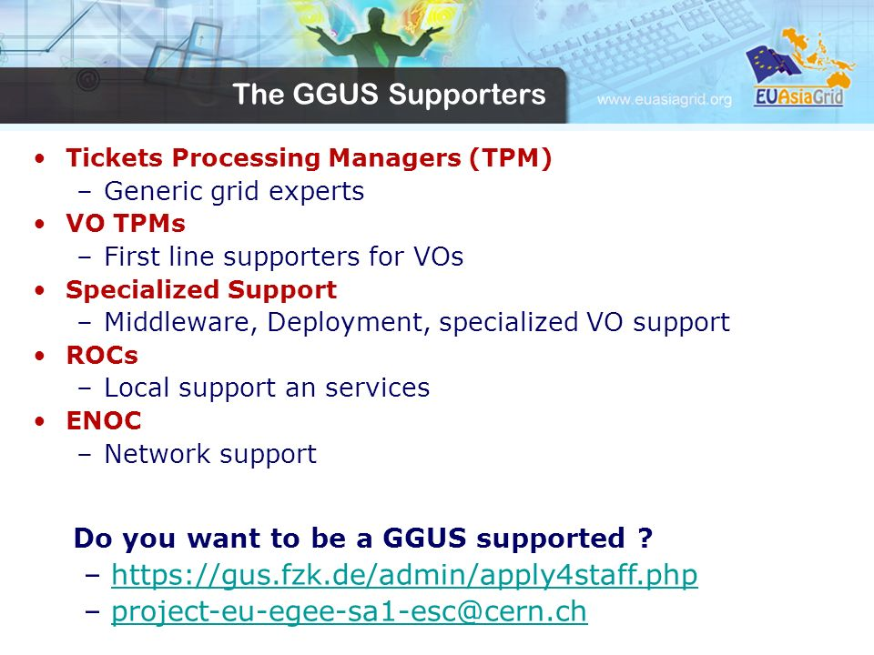The GGUS Supporters Tickets Processing Managers (TPM) –Generic grid experts VO TPMs –First line supporters for VOs Specialized Support –Middleware, Deployment, specialized VO support ROCs –Local support an services ENOC –Network support Do you want to be a GGUS supported .